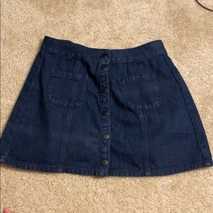 Brandy Melville dark blue button down mini skirt